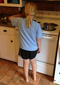 Carrie cooking